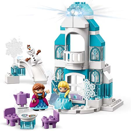Building Blocks – Disney Frozen Ice Castle in 59 Pieces - Educational Lego Duplo Toy