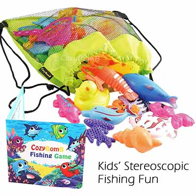 Cozybomb Magnetic Fishing Pool-Tub Kiddie Party Toy - Best for Hand-Eye Coordination (table)